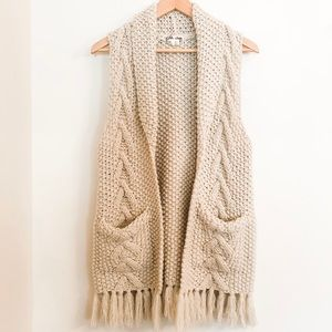 Anthropologie Cable Knit Fringe Vest Lili's Closet